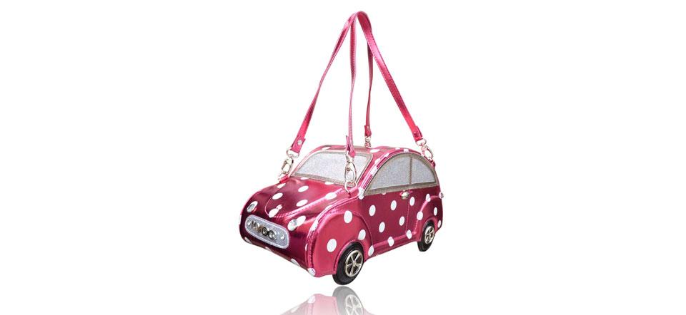Sac original voiture rose foncé pois blancs