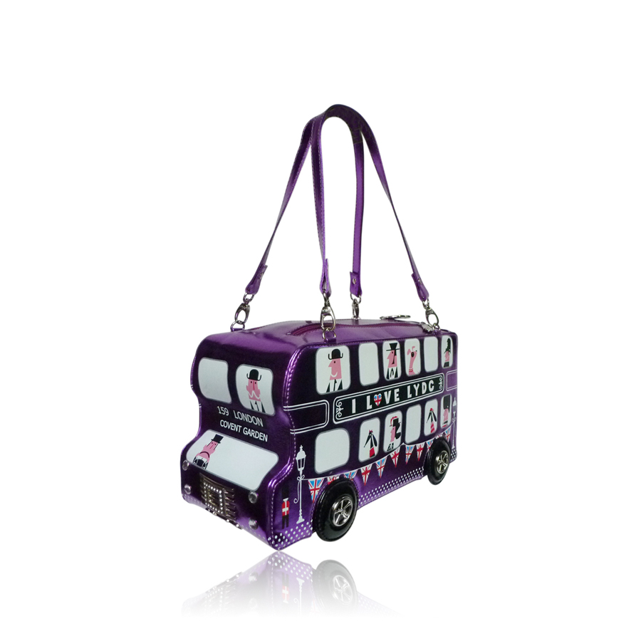 Sac a main original bus de londres violet